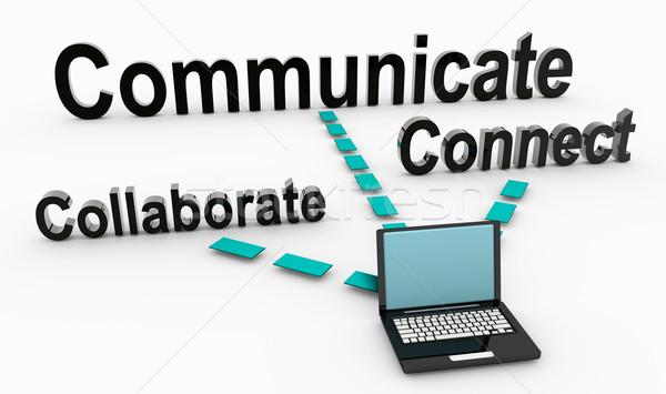 Kommunikál együttműködik üzlet elvek munka vezetőség Stock fotó © kentoh