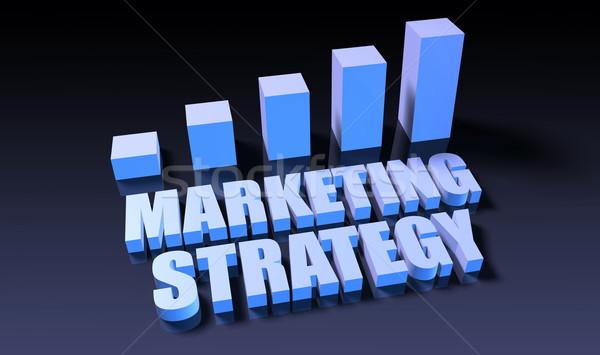 Estratégia de marketing gráfico traçar 3D azul preto Foto stock © kentoh