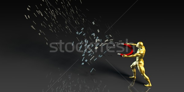 Stock photo: Businessman Pulling Money with a Magnet