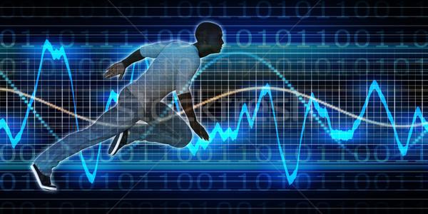 Başarılı iş siyah adam grafik teknoloji siyah Stok fotoğraf © kentoh