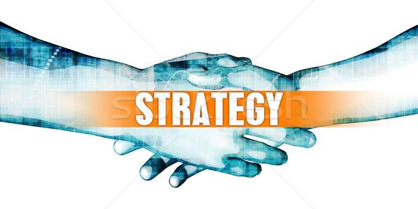 Estrategia empresarios apretón de manos blanco manos fondo Foto stock © kentoh