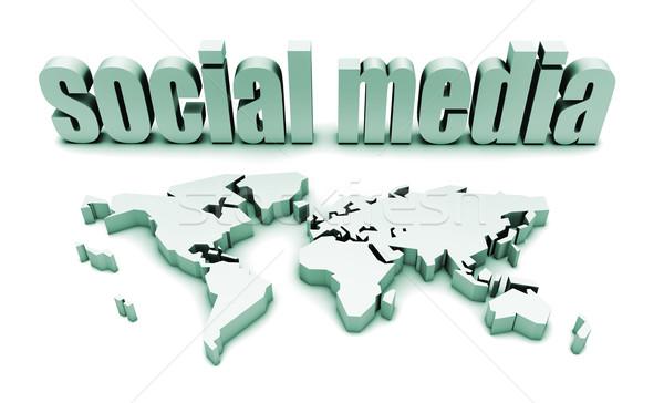 Medios de comunicación social global audiencia mapa mundo Foto stock © kentoh