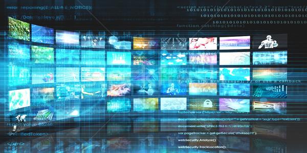 Média technológiák videofal üzlet háttér hálózat Stock fotó © kentoh