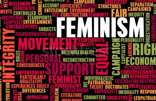 Feminismo ideologia igualdade feira tratamento conceito Foto stock © kentoh