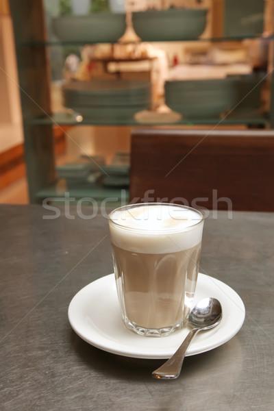 Kávézó kávé csészealj teáskanál üzlet étterem Stock fotó © kentoh