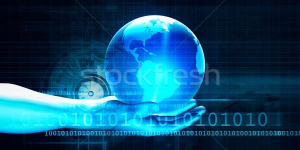 Futurystyczny biznesmen świecie ręce strony streszczenie Zdjęcia stock © kentoh