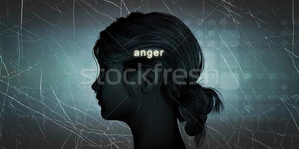 Mulher raiva pessoal desafiar azul Foto stock © kentoh