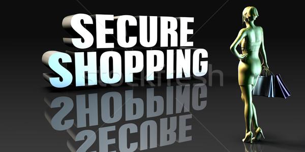 Beveiligde winkelen dame veiligheid Stockfoto © kentoh