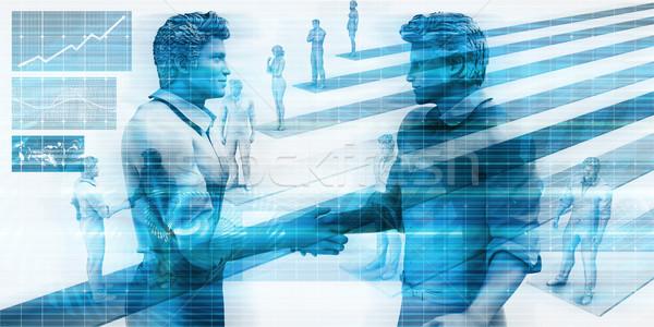 Bankügylet pénzügy férfiak kézfogás üzlet kezek Stock fotó © kentoh