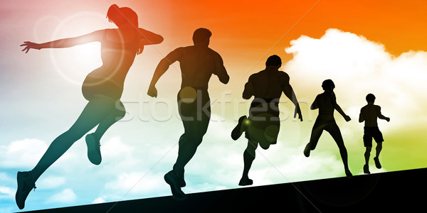 Kardio képzés épület állóképesség nők sport Stock fotó © kentoh