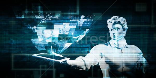 Segurança de dados homem comprimido tecnologia fundo notícia Foto stock © kentoh
