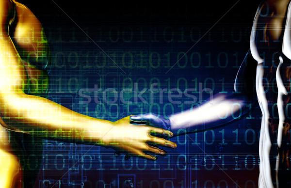 Integração dois parceiros de negócios fundo aperto de mão equipe Foto stock © kentoh