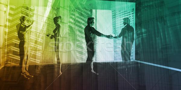 Bancaire industrie centraal zakenwijk handen vergadering Stockfoto © kentoh