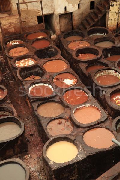 Stock fotó: Marokkó · festék · munka · Afrika · felhő · bőr