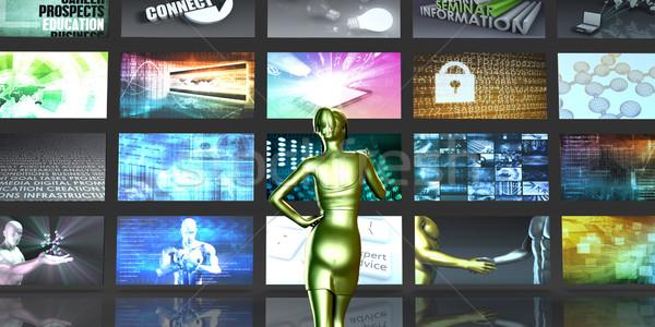 Multimedia Technologie Frau Computer Musik Stock foto © kentoh