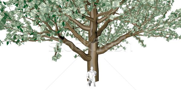 Stock fotó: Férfi · ül · pénzfa · fa · háttér · levelek
