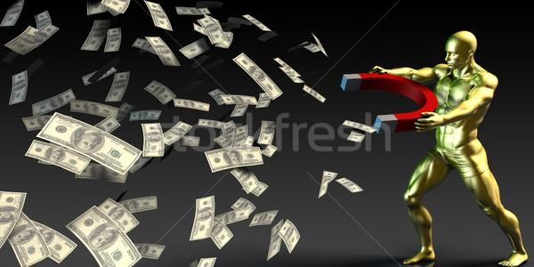 üzletember húz pénz mágnes férfi pénz Stock fotó © kentoh