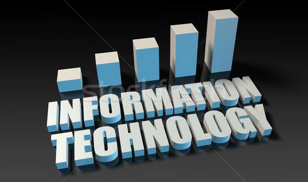Tecnología de la información gráfico tabla 3D azul negro Foto stock © kentoh