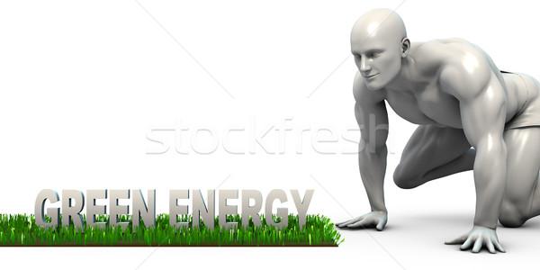Groene energie man naar voedsel energie asian Stockfoto © kentoh