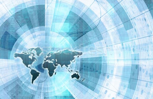 Global bütünleşme ağ dünya haritası Internet harita Stok fotoğraf © kentoh