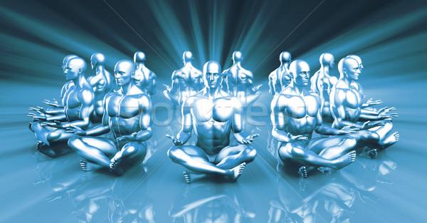 Megvilágosodás jóga osztály fény egészség férfiak Stock fotó © kentoh