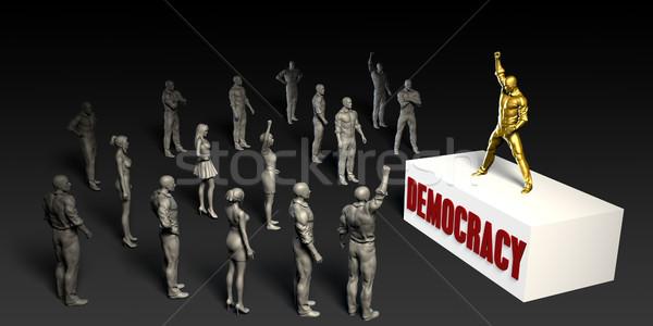 демократия борьбе женщины толпа мужчин черный Сток-фото © kentoh