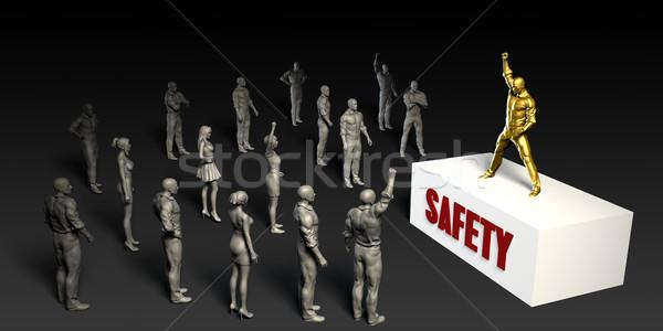 Güvenlik kavga kadın kalabalık erkekler siyah Stok fotoğraf © kentoh