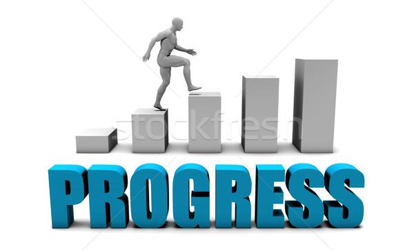 Progresso 3D azul gráfico de barras gráfico educação Foto stock © kentoh