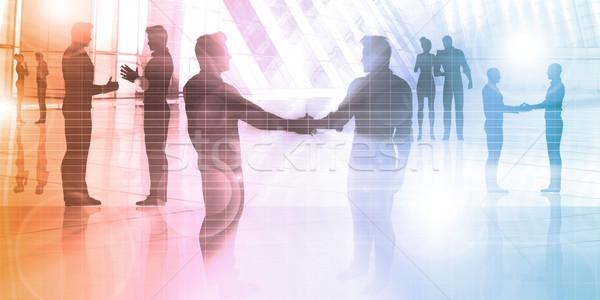 деловые люди говорить корпоративного силуэта бизнеса закат Сток-фото © kentoh