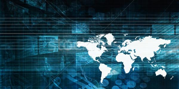 Wereldwijde business presentatie kunst werk wereld technologie Stockfoto © kentoh