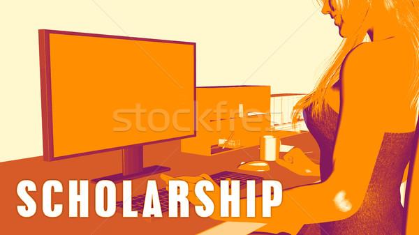 стипендия женщину глядя компьютер бизнеса классе Сток-фото © kentoh