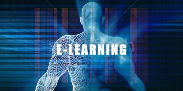 Online oktatás futurisztikus absztrakt üzlet technológia üzletember Stock fotó © kentoh