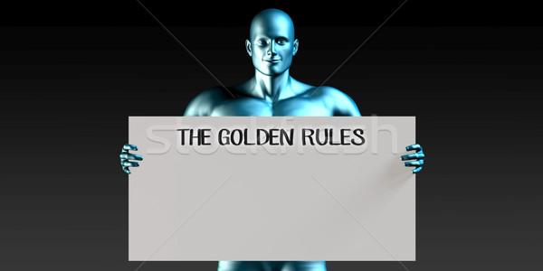 Stock fotó: Arany · szabályok · férfi · hordoz · emlékeztető · felirat