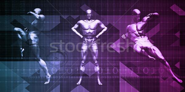 Egzersiz spor adam kalabalık uygunluk Stok fotoğraf © kentoh