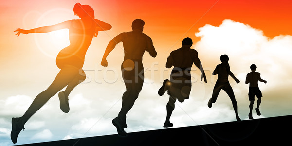 Running Women and Men Stock photo © kentoh