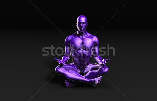 Stok fotoğraf: Adam · yoga · lotus · pozisyon · poz · sağlık
