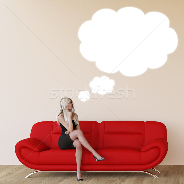 Woman with Thought Bubble Stock photo © kentoh