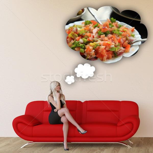Vrouw hunkering salade denken eten voedsel Stockfoto © kentoh