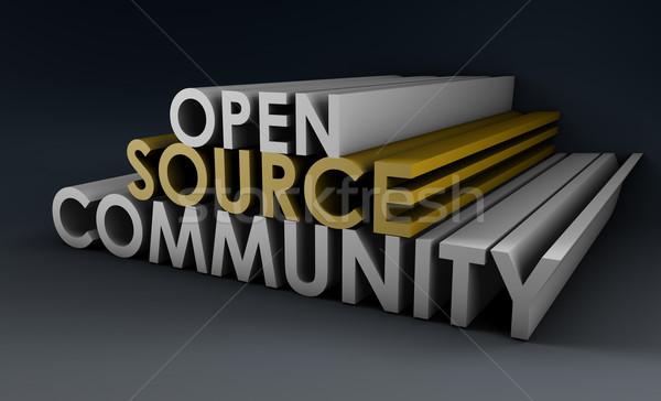 Nyitva forrás közösség 3D művészet üzlet Stock fotó © kentoh