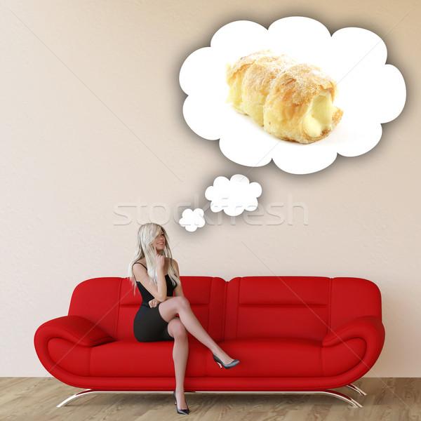 Vrouw hunkering denken eten voedsel Stockfoto © kentoh