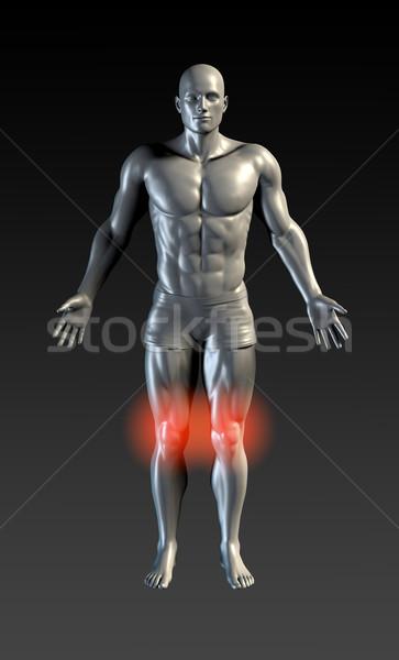 Térd sérülés piros izzik egészség sportok Stock fotó © kentoh