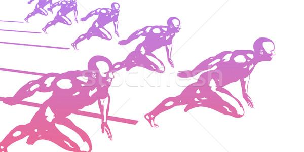 Excelência homens perfeição arte fundo corrida Foto stock © kentoh