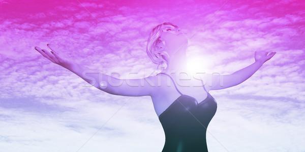 気楽な 女性の笑顔 屋外 腕 空 ストックフォト © kentoh