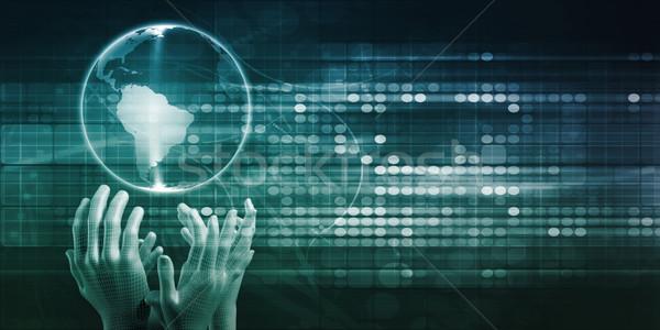 Futurisztikus technológia kezek internet háttér háló Stock fotó © kentoh