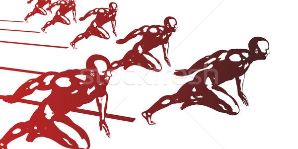 Cardio entrenamiento atletas ejecutando rápido resumen Foto stock © kentoh