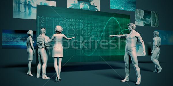 Tendenza analisi riunione presentazione grafico grafico Foto d'archivio © kentoh