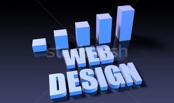 веб-дизайна графа диаграммы 3D синий черный Сток-фото © kentoh