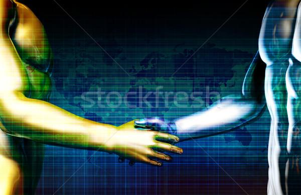 üzlet integráció hálózat kezek számítógép internet Stock fotó © kentoh