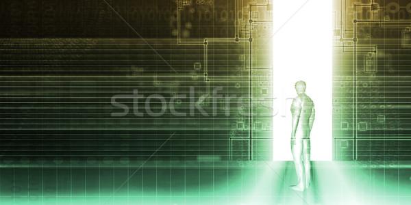 Digitális technológia hálózat művészet biztonság kommunikáció jövő Stock fotó © kentoh