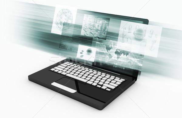Interaktív média digitális szórakoztatás terv notebook Stock fotó © kentoh
